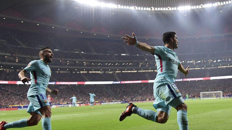 Luis Suarez (Barcelone) marque à l'Atlético Madrid (JAVIER SORIANO / AFP)