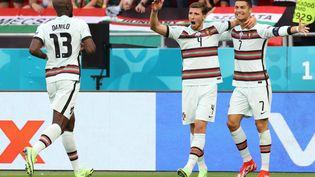 La joie des Portugais lors de leur victoire face à la Hongrie. (BERNADETT SZABO / POOL)