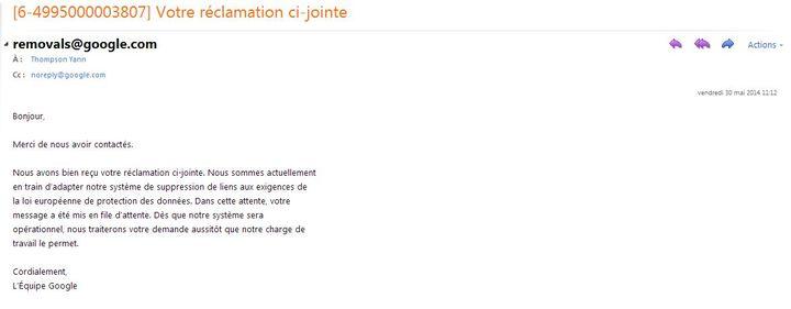 Capture d'écran du message envoyé par Google (YANN THOMPSON / FRANCETV INFO)