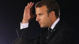 Le président de la République, Emmanuel Macron, prononce un discours le 7 septembre 2017 à Athènes (Grèce). (LUDOVIC MARIN / AFP)