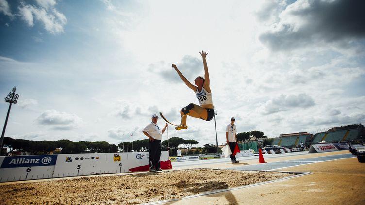 Marie-Amélie Le Fur en saut en longueur lors des championnats d'Europe,à Grosseto (Italie), le 11 juin 2016. (MAURO UJETTO / NURPHOTO / AFP)