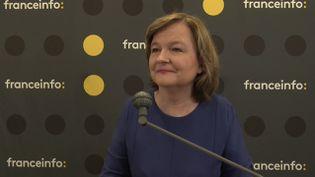 Nathalie Loiseau, tête de liste LREM pour les élections européennes, lors de la matinée de débats organisée par franceinfo à la Maison de la Radio, jeudi 23 mai. (FRANCEINFO / RADIO FRANCE)