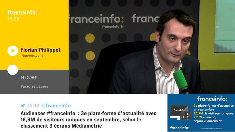 Florian Philippot, président du parti Les Patriotes, était l'invité de L'interview J-1, lundi 6 novembre sur franceinfo. (FRANCEINFO / RADIOFRANCE)