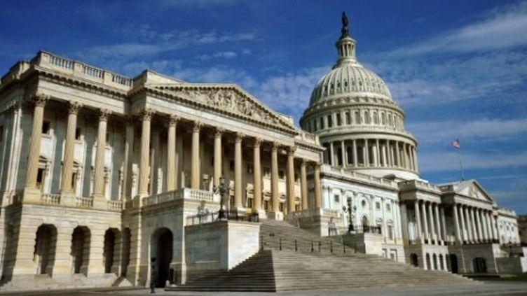 """Vue sur """"Le Capitole"""" qui abrite le siège du Sénat (aile nord) et la Chambre des représentants (aile sud). (AFP - Karen Bleier)"""