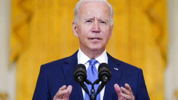 Le président américain Joe Biden lors d'une conférence de presse à Washington (Etats-Unis). (EVAN VUCCI / AP)
