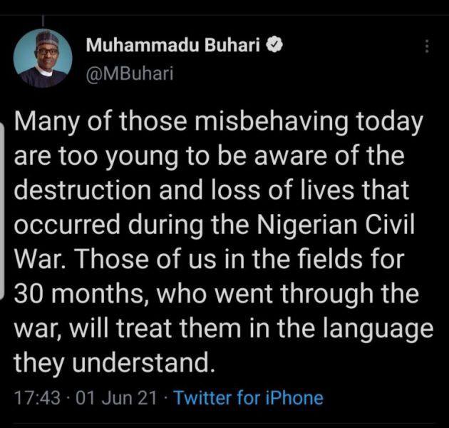 Une capture d'écran du tweet du président nigérian, Muhammadu Buhari, supprimé par Twitter. (CAPTURE D'ECRAN - GLOBAL VOICES)