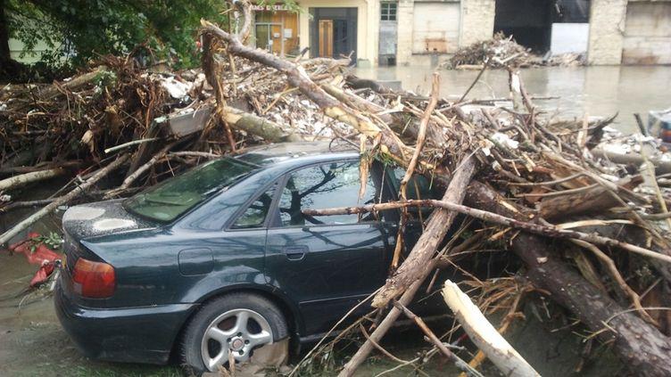 Une voiture coincée sous un arbre à Lourdes (Hautes-Pyrénées) après les intempéries survenues le 19 juin 2013. (REGIS COTHIAS / FRANCE 3 MIDI-PYRENEES)