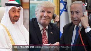Israël et les Emirats Arabes Unis tentent de rétablir leur relation. Les deux pays doivent prochainement signer un accord prochainement. Derrière ce rapprochement, on s'interroge sur le rôle joué par les États-Unis. (FRANCE 2)