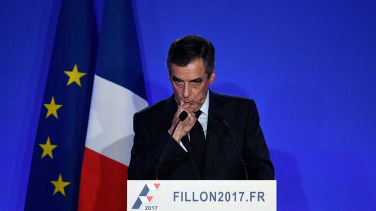 François Fillon en conférence de presse, le 6 février 2017 à Paris. (MARTIN BUREAU / AFP)
