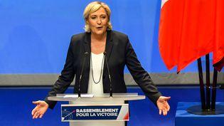 Marine Le Pen, présidente du Front national, au congrés du FN, le 11 mars 2018. (PHILIPPE HUGUEN / AFP)