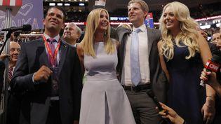 Donald Jr., Ivanka, Eric et Tiffany Trump, quatre des cinq enfants du candidat à la présidentielle, pendant la convention républicaine, à Cleveland (Ohio), le 19 juillet 2016. (BRIAN SNYDER / REUTERS)