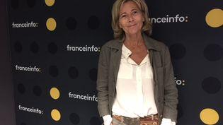 Claire Chazal dans le studio de franceinfo en mai 2018. (FRANCEINFO)