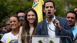 Juan Guaido, président du Parlement du Venezuela, lors d'un discours devant les oppoants à Nicolas Maduro, à Caracas, le 26 janvier 2019. (FEDERICO PARRA / AFP)