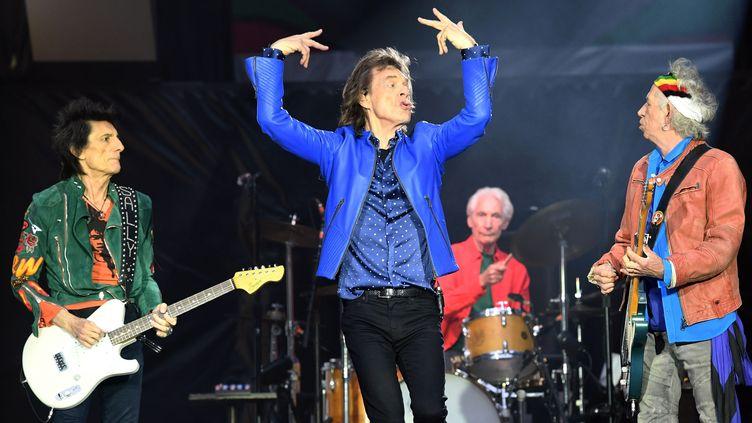 Ronnie Wood, Mick Jagger, Charlie Watts et Keith Richards des Rolling Stones sur scène à Cardiff (Royaume-Uni) le 15 juin 2018.  (Anwar Hussein/SIPA)