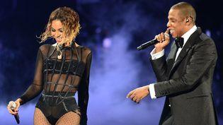 Beyoncé et Jay-Z sur scène aux 56e Grammy Awards le 26 janvier 2014.  (Frederic J.Brown / AFP)