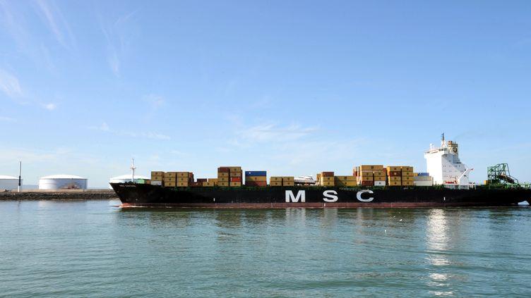 Un porte-conteneurs de MSC entre dans le port du Havre, le 16 juillet 2009. (MYCHELE DANIAU / AFP)