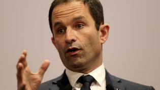Le candidat du Parti socialiste à l'élection présidentielle Benoît Hamon à Reims (Marne), le 4 mars 2017. (FRANCOIS NASCIMBENI / AFP)