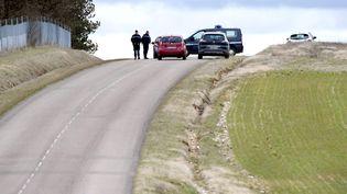 Des gendarmes effectuent des recherches dans le bois de la Maison dieu en bordure de l'autoroute A6, à Saint-Cyr-les-Colons (Yonne). (MAXPPP)