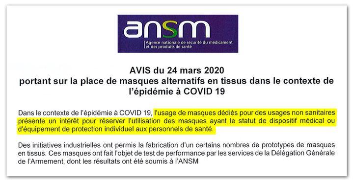 """Avis de l'Agence nationale de sécurité du médicament (ANSM) sur l'usage des """"masques non sanitaires"""". (DR)"""
