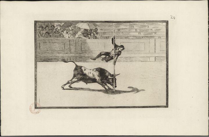 Francisco de Goya y Lucientes - Légèreté et adresse de Juanito Apiñani dans la place de Madrid -Eau-forte, aquatinte brunie, pointe sèche, burin et lavis sur papier - 30,8 x 44,5 cm (Nîmes, Carré d'Art bibliothèque)
