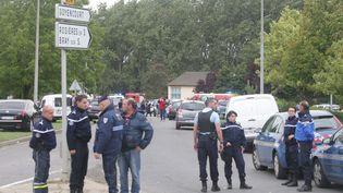 A Roye (Somme), sur les lieux de la fusillade,le 25 août 2015. (MAXPPP)