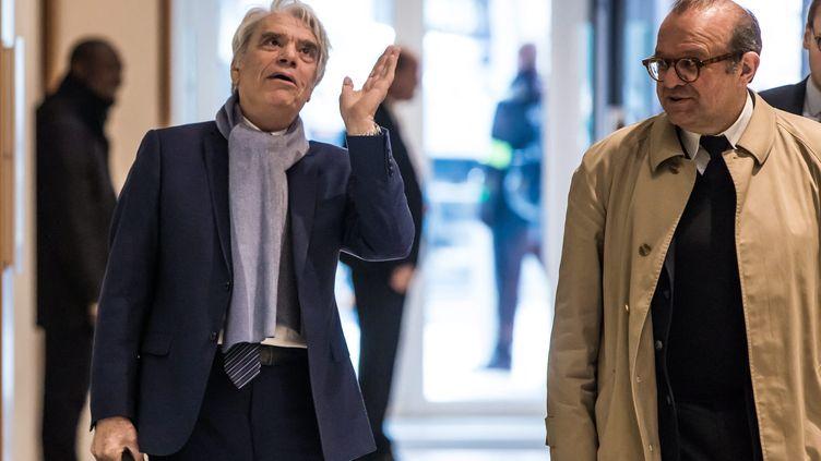 Bernard Tapie et son avocat Hervé Temime, au tribunal de Paris, le4 avril 2019. (CHRISTOPHE PETIT TESSON / MAXPPP)