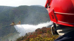 Un canadair en intervention le 3 septembre 2003 près de La Garde-Frenet dans le massif des Maures (Var). (DOMINIQUE FAGET / AFP)