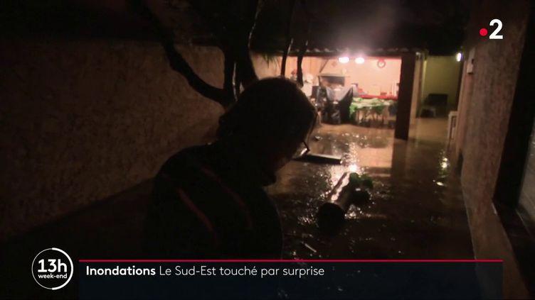 Des pluies violentes ont provoqué des inondations dans le Sud-Est, dans la nuit de samedi 2 à dimanche 3 novembre 2019. (FRANCE 2)