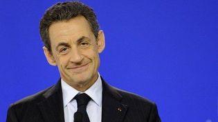 Nicolas Sarkozy tient une conférence de presse, à l'issue du sommet de Bruxelles, le 30 janvier 2012. (AFP - Eric Feferberg)