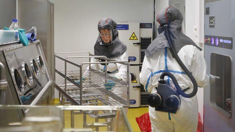 Une équipe de chercheurs durant le développement d'un vaccin candidat, à l'institut Rega de Louvain (Belgique). (LAYLA AERTS / UNIVERSITE DE LOUVAIN)