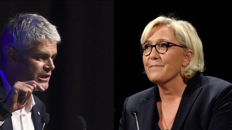 Laurent Wauquiez et Marine Le Pen peuvent parfois porter des discours semblables sur l'immigration, l'identité ou la sécurité. (AFP / FRANCEINFO)