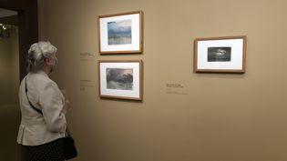 Une visiteuse de l'exposition Turner le jour de la réouverture du musée Jacquemart-André à Paris. L'exposition avait fermé le 14 mars après un week-end d'ouverture. (Manon Botticelli / Franceinfo Culture)