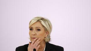 Marine Le Pen le 10 avril 2017 à Paris. (BENJAMIN CREMEL / AFP)