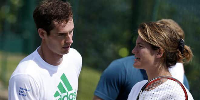 Andy Murray et Amélie Mauresmo à l'entraînement
