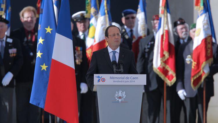 François Hollande, le 6 juin 2014 au Mémorial de Caen (Calvados). (CHARLY TRIBALLEAU / AFP)