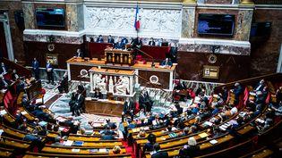 L'hémicycle de l'Assemblée nationale, à Paris, le 20 juillet 2021. (XOSE BOUZAS / HANS LUCAS / AFP)