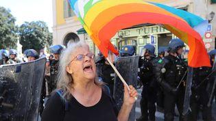 Geneviève Legay lors de la manifestation à Nice, le 23 mars 2019. (VALERY HACHE / AFP)