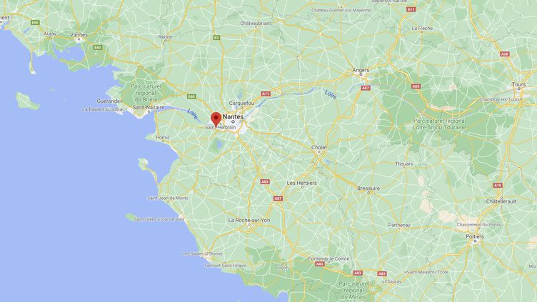 Capture d'écran de Google Maps pointant la ville de La Montagne où le maire a pris, début janvier, un arrêté municipal assimilant à un dépôt de déchets tous les rejets de produits phytosanitaires qui se répandent hors du site auquel ils sont destinés. (GOOGLE MAPS)