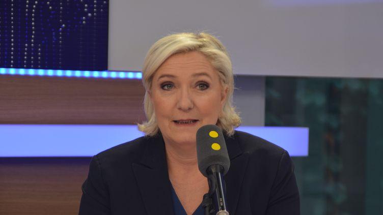 Marine Le Pen, présidente du FN et candidate aux élections législatives dans la 11ecirconscription du Pas-de-Calais. (RADIO FRANCE / JEAN-CHRISTOPHE BOURDILLAT)