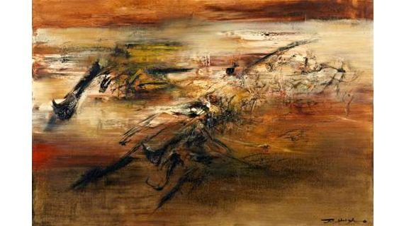 Zao Wou-Ki (né en 1920),30.10.1961,30 octobre 1961, huile sur toile,130,5x196 cm. (COPYRIGHT : ADAGP 2011 / FONDATION POUR L'ART, GENÈVE, PHOTOGRAPHIE SANDRA POINTET)