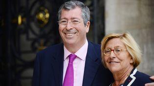 Patrick et Isabelle Balkany, à la mairie de Neuilly-sur-Seine (Hauts-de-Seine), le 16 avril 2013. (REAU ALEXIS / SIPA)