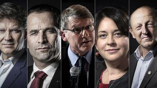 De gauche à droite : Manuel Valls, Arnaud Montebourg, Benoît Hamon, Vincent Peillon, Sylvia Pinel, Jean-Luc Bennahmias et François de Rugy. (AFP / FRANCEINFO)