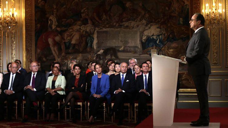 (François Hollande, lundi 7 septembre, au moment de son discours dans la salle des fêtes de l'Elysée © MaxPPP)