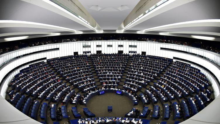 L'hémicycle du Parlement européen, à Strasbourg (Bas-Rhin), le 13 février 2019. (FREDERICK FLORIN / AFP)