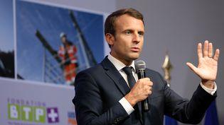 Emmanuel Macron à Egletons (Corrèze), le 4 octobre 2017 (LUDOVIC MARIN / AFP)