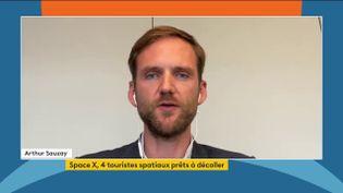 Arthur Sauzay, avocat et spécialiste des questions spatiales, mercredi 15 septembre dans le journal télévisé de la chaîne franceinfo. (FRANCEINFO)