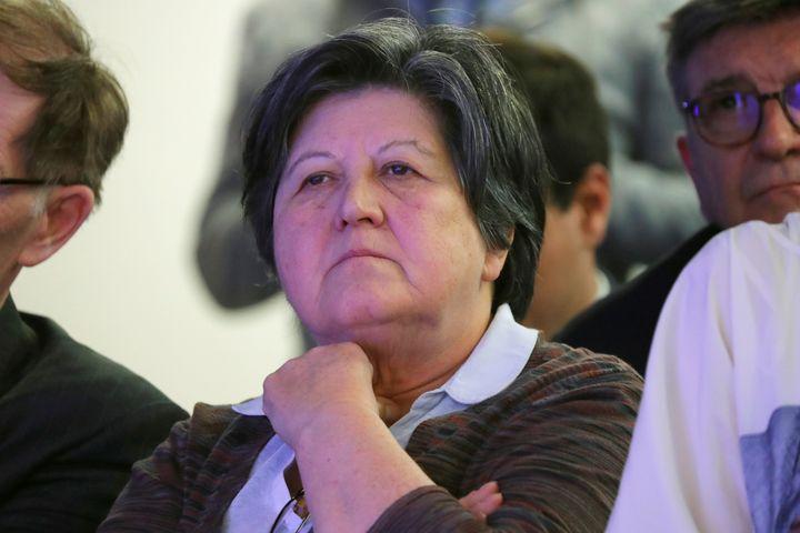 Catherine Barbaroux, le 8 mai 2017 à Paris, lors d'une conférence de presse au siège d'En marche. (CHARLES PLATIAU / AFP)
