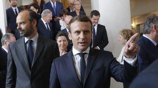 Emmanuel Macron, à la sortie du premier conseil des ministres, le 18 mai 2017. (PHILIPPE WOJAZER / POOL)