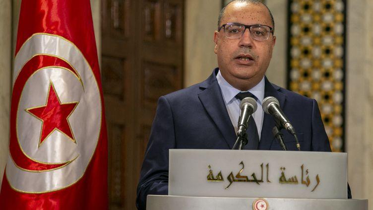 Le Premier ministre tunisien,Hichem Mechichi, le 31 mars 2021 à Tunis. (YASSINE GAIDI / ANADOLU AGENCY / AFP)