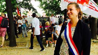 Mathilde Panot, députée La France insoumise, lors de la manifestation contre la réforme du Code du travail, mardi 27 juin, aux Invalides à Paris. (MATTHIEU MONDOLONI / FRANCEINFO)